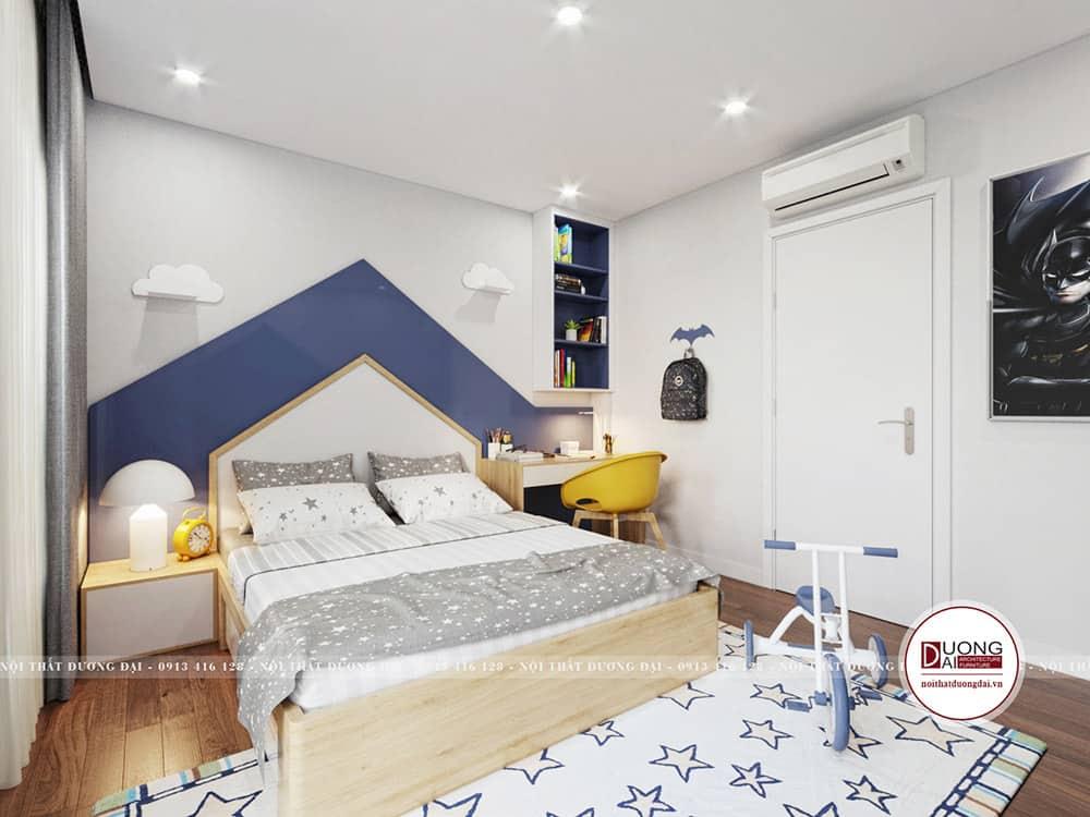 Phòng ngủ bé trai với màu xanh dương đáng yêu