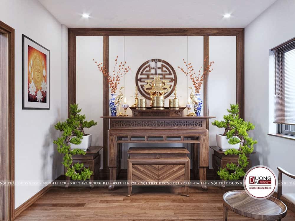 Thiết kế bàn thờ gỗ tự nhiên trang trọng trong diện tích nhỏ 8m2