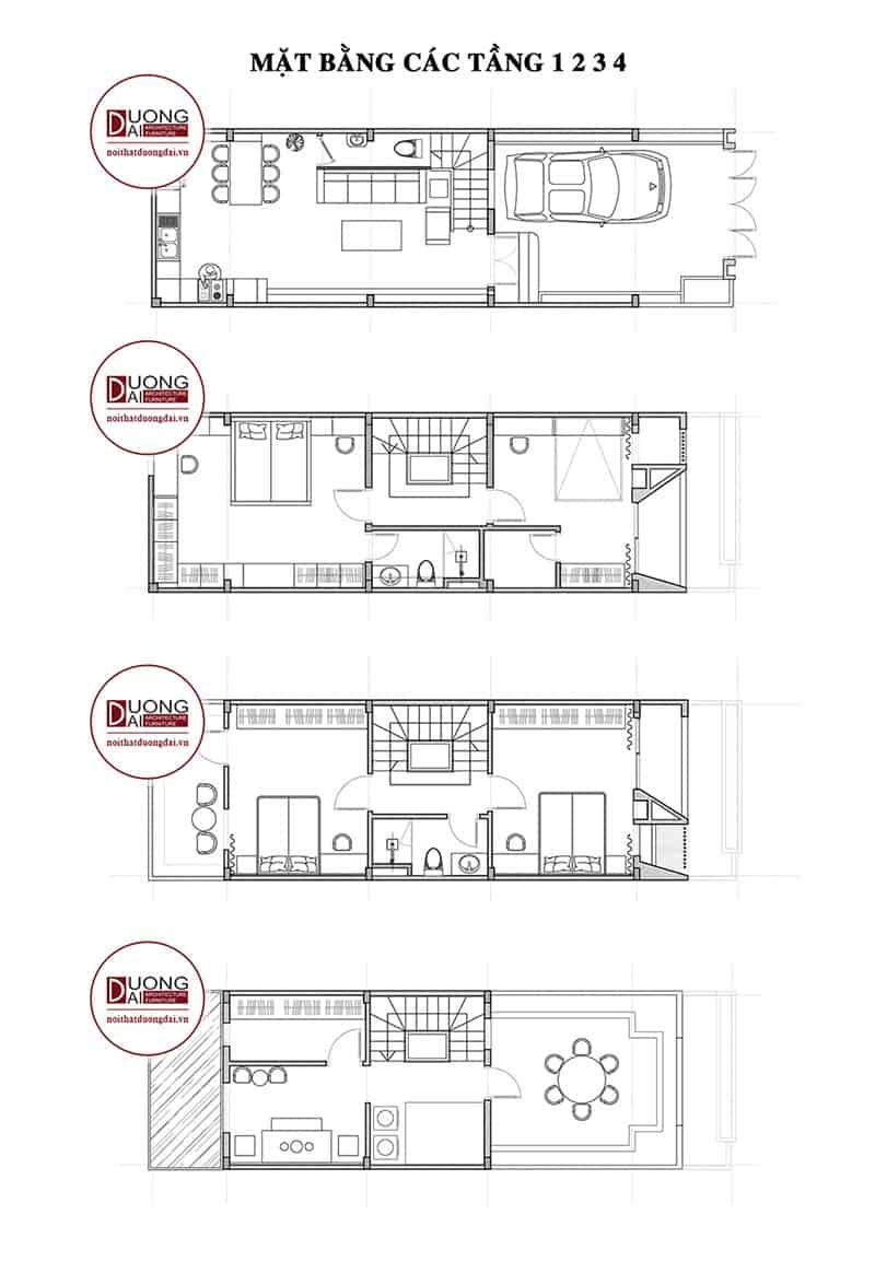 Thiết Kế Nội Thất Nhà Ống 4 Tầng 4,5x14m | CĐT: Anh Kiên