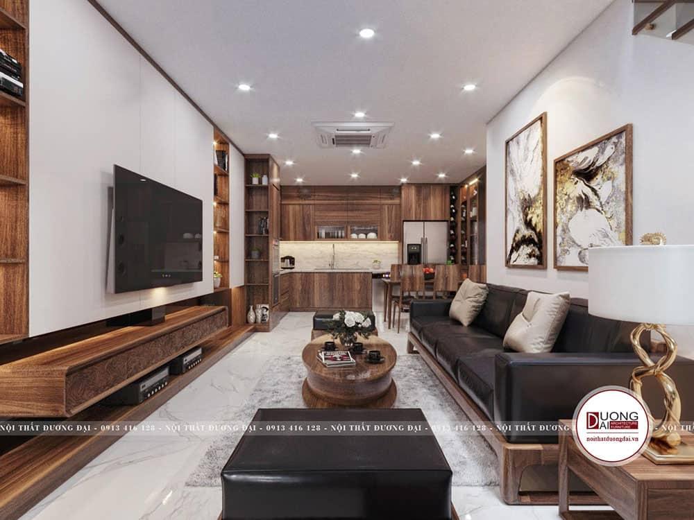Thiết kế sofa gỗ óc chó siêu tinh tế và trang nhã
