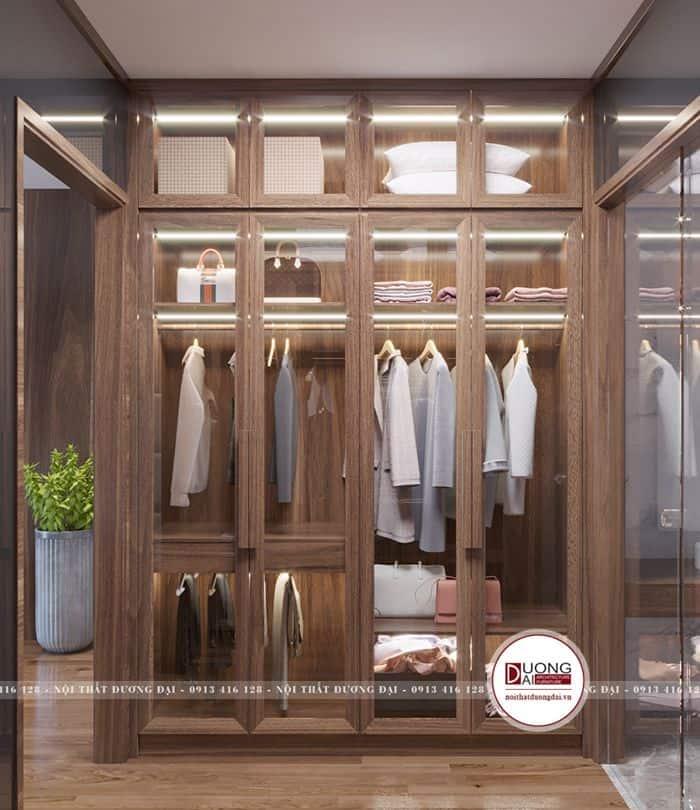 Tủ quần áo có đèn led chiếu sáng hiện đại
