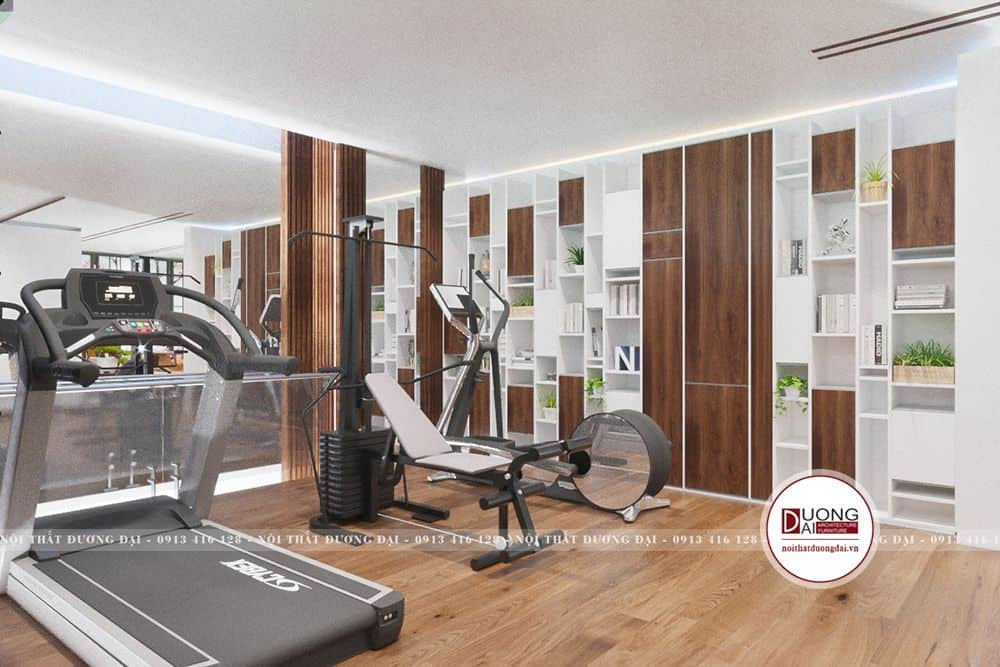 Phòng tập Gym hiện đại với giá sách lớn