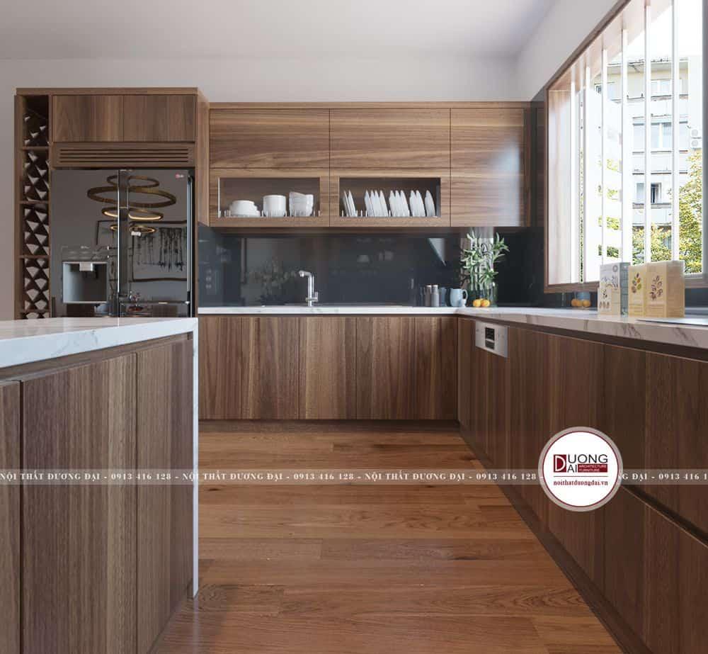 Thiết kế tủ bếp hiện đại từ gỗ tự nhiên