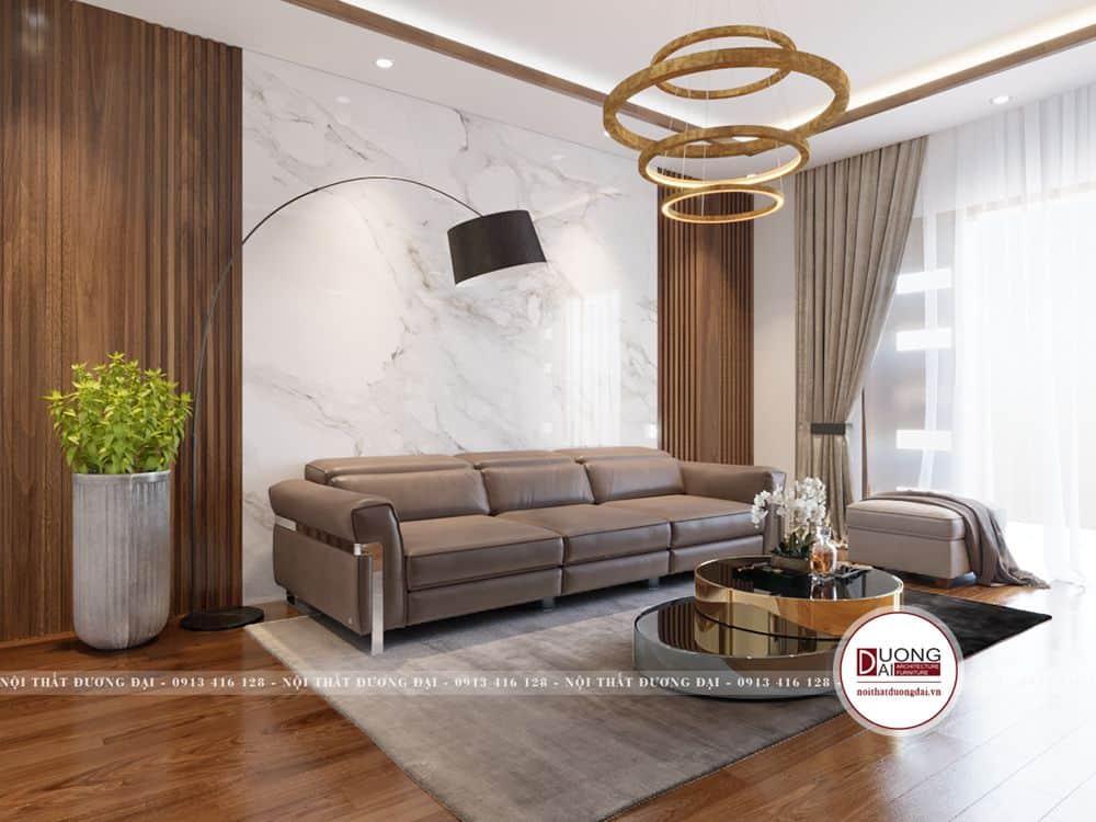 Phòng sinh hoạt chung với bộ sofa êm ái