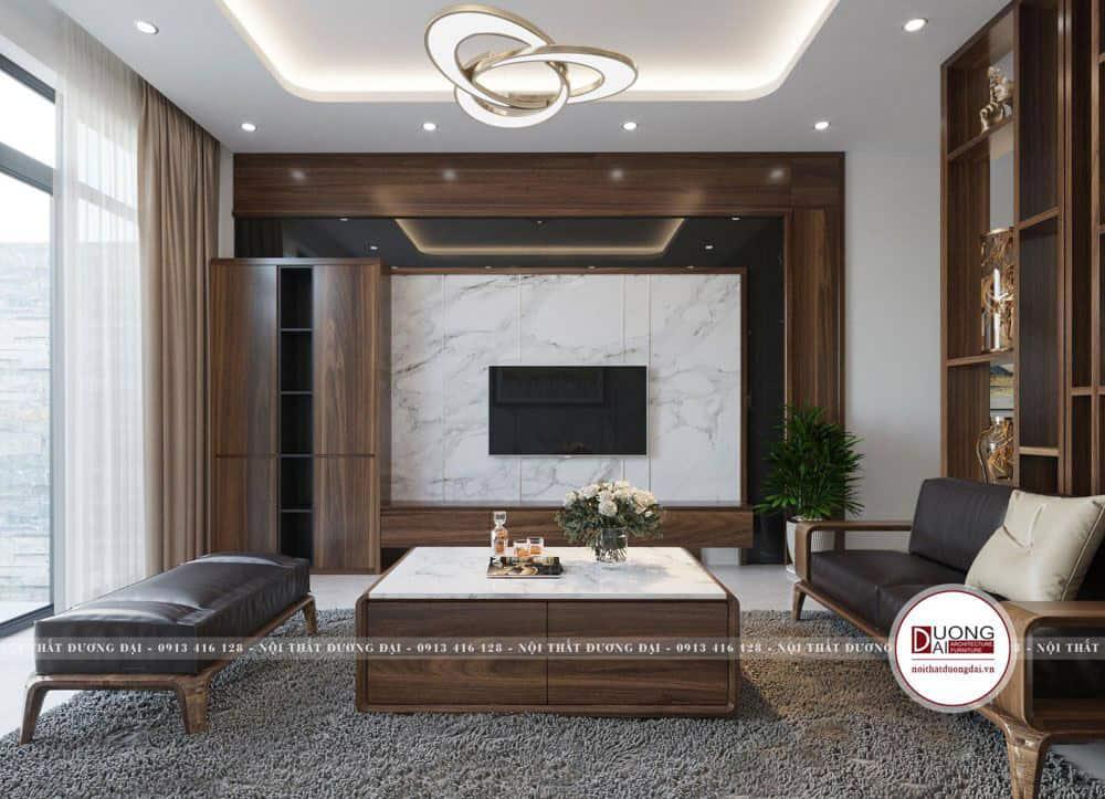Kệ tivi kết hợp chất liệu đá và gỗ