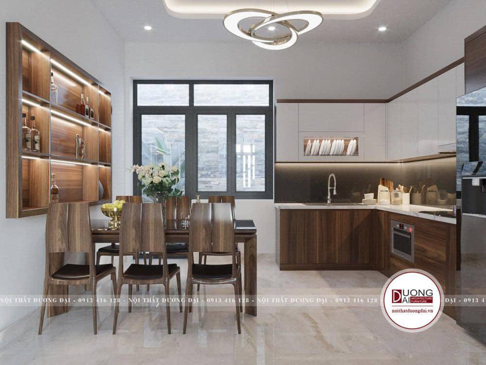 Thiết kế phòng ăn đẹp với bàn ghế gỗ óc chó