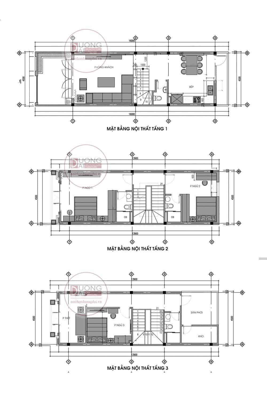 Mặt bằng công năng 3 tầng nhà phố Quảng Ninh
