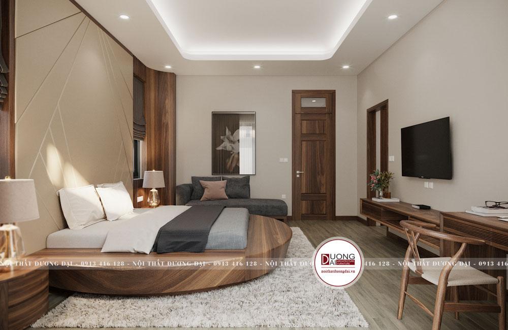 Phòng ngủ đơn giản với điểm nhấn là chiếc giường sang trọng hình tròn