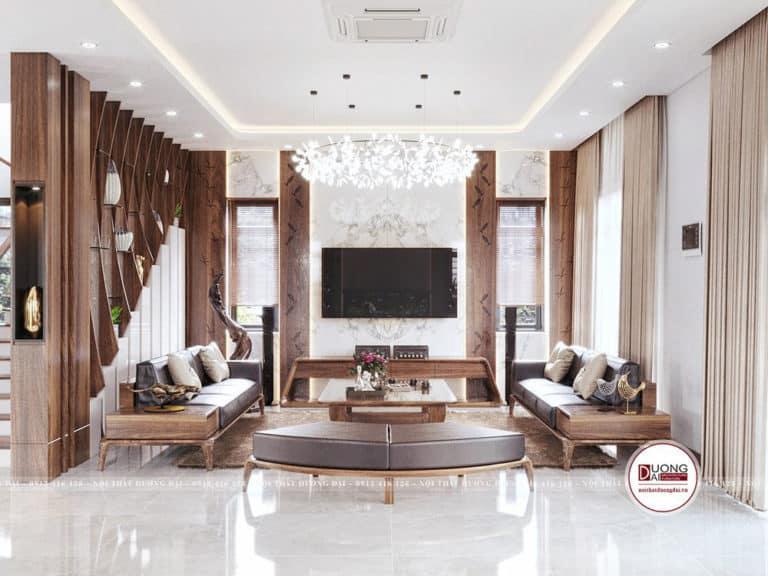 Phòng khách cực kỳ sang trọng với bộ bàn ghế sofa làm điểm nhấn