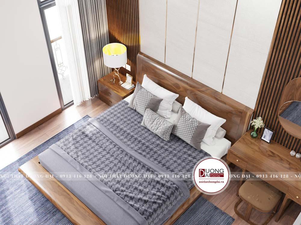 Không gian phòng ngủ gỗ óc chó có tích hợp tủ quần áo sang trọng
