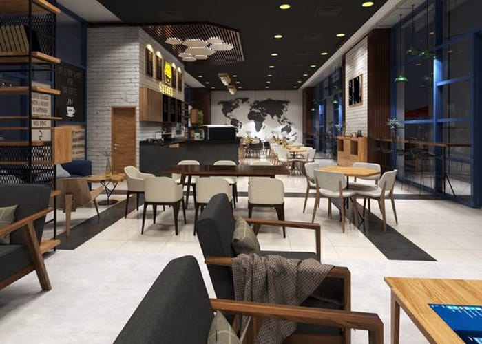 Thiết kế bàn ghế sang trọng với đệm ngồi êm ái cho khách