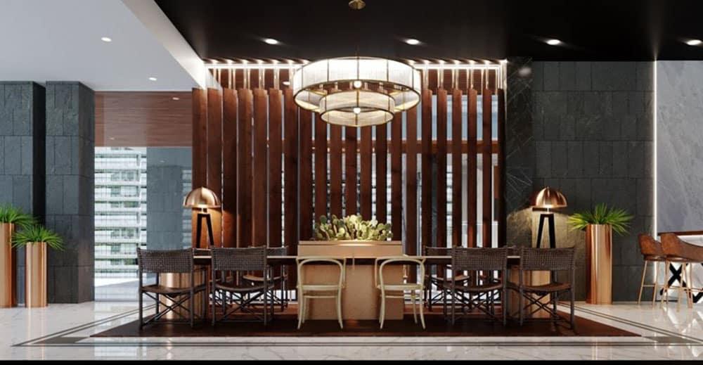 Thiết kế hiện đại với bàn ghế nhỏ gọn và sang trọng