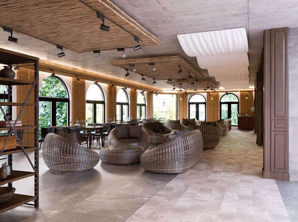 Thiết kế quán cafe diện tích lớn với ghế mây sang trọng