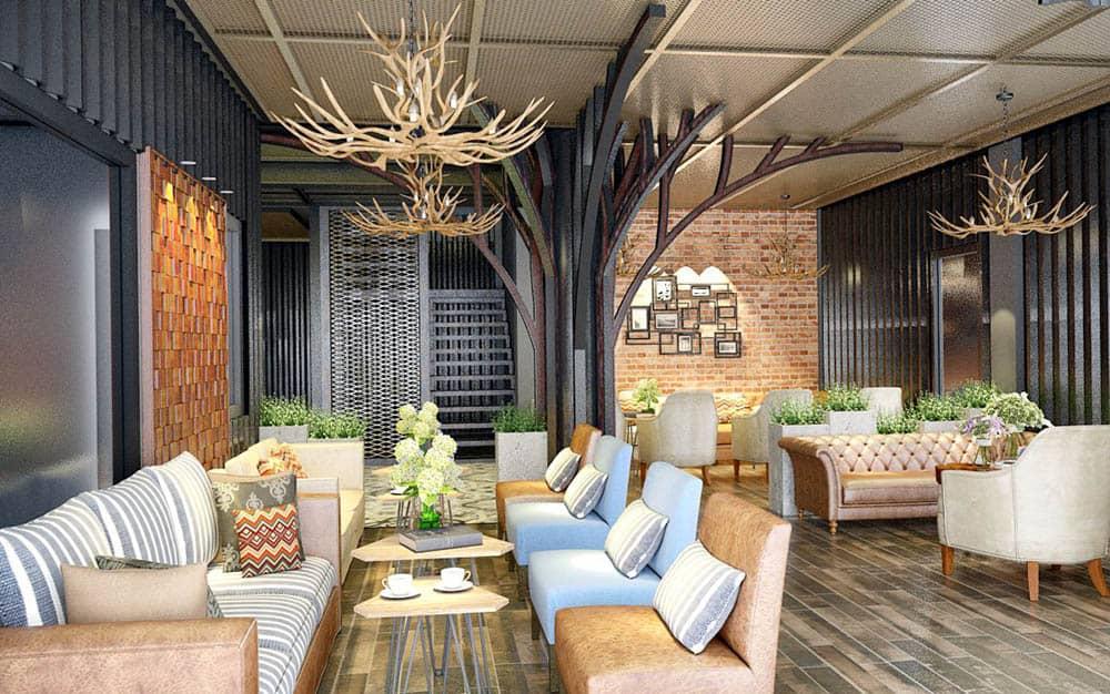 Mẫu quán cafe rộng với những bộ bàn ghế sofa lớn