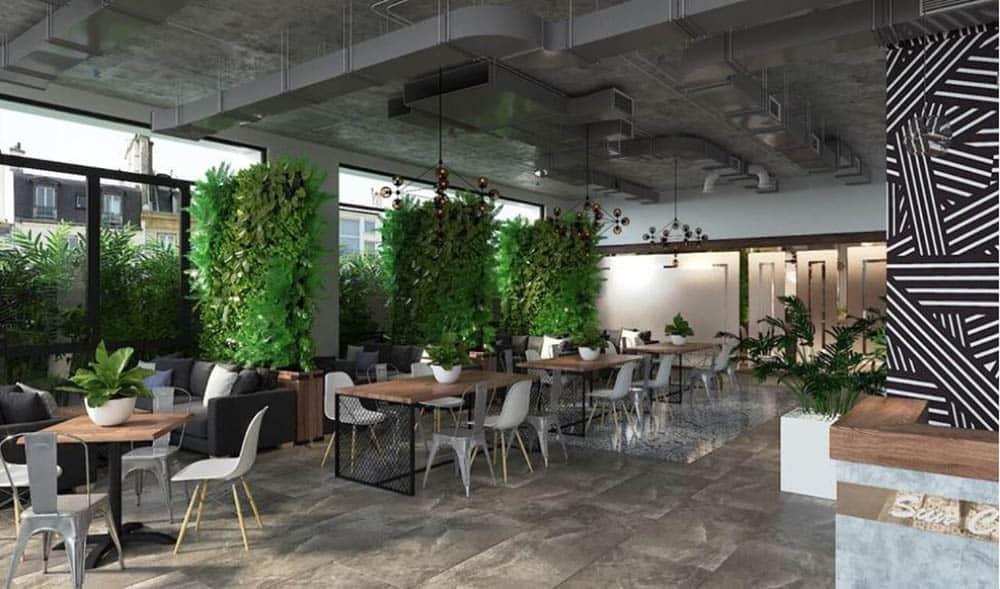 Những tường cây lớn tạo điểm nhấn đẹp và sinh động cho quán