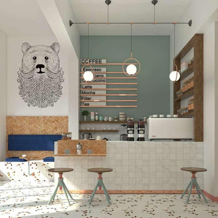 Mẫu quán cafe nhỏ xinh với phong cách trẻ trung