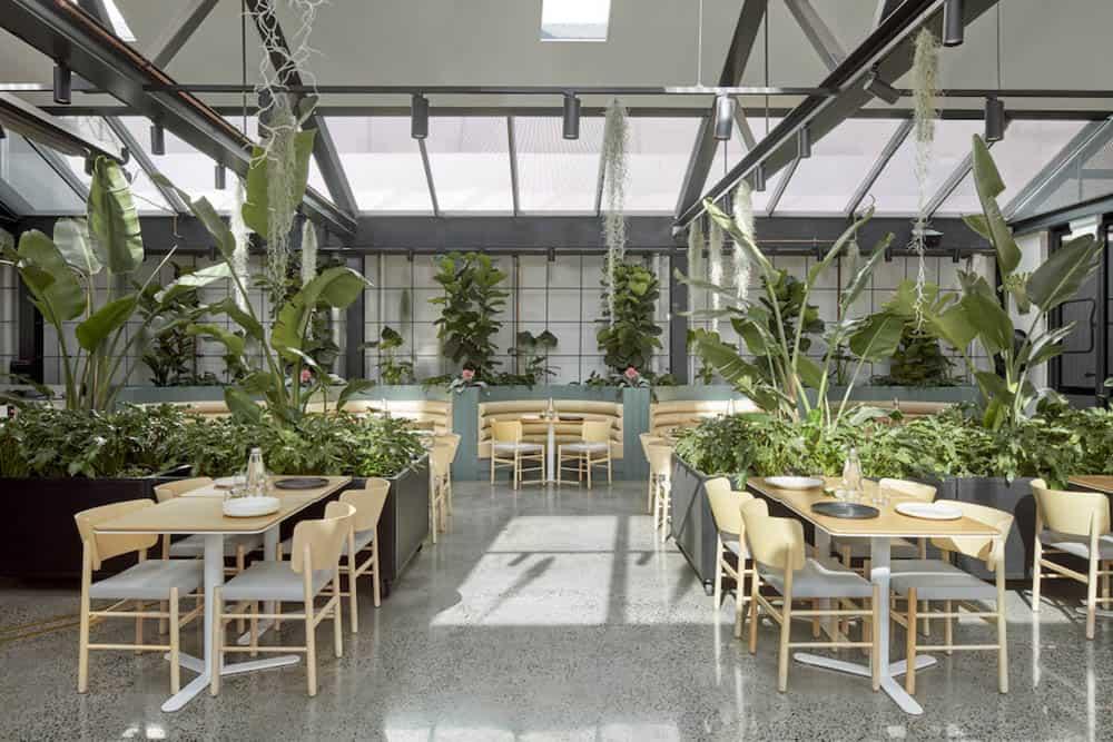 Chỗ ngồi của khách rất sang trọng và thoải mái với cây xanh bao phủ