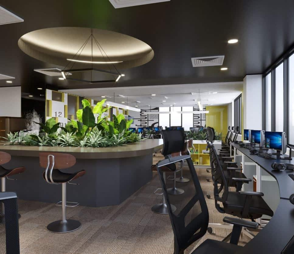 Khu vực làm việc của nhân viên được thiết kế mở