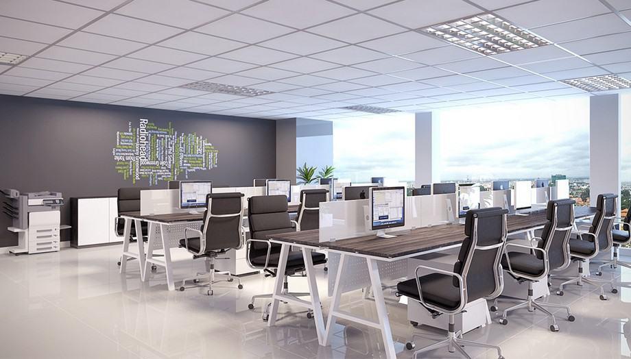 Mẫu văn phòng hiện đại có không gian mở cùng tầm nhìn đẹp