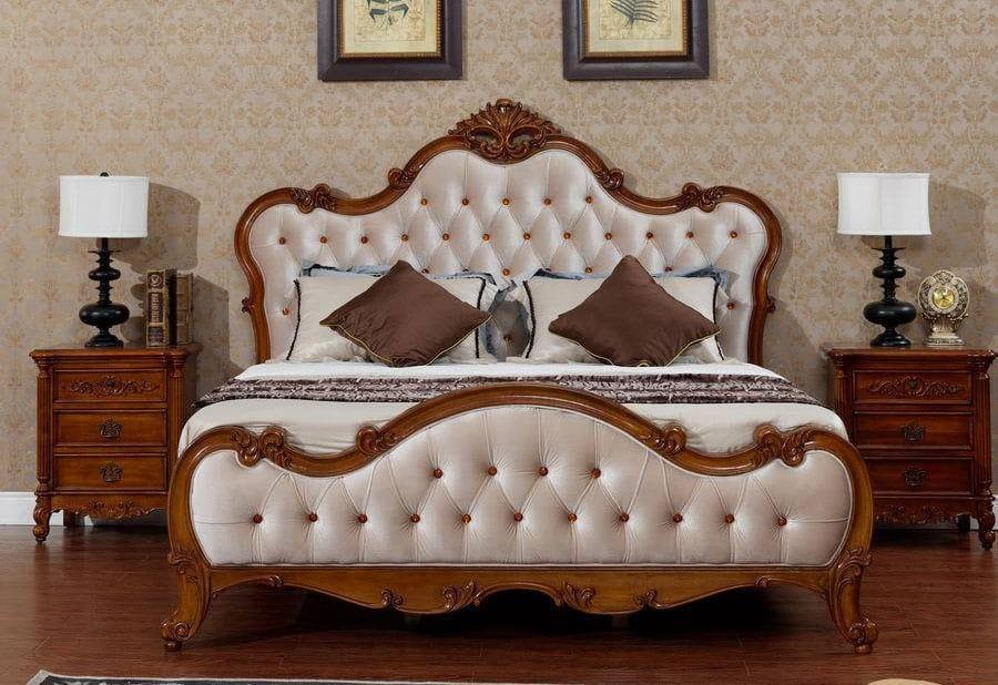 Kệ đầu giường gỗ gõ đỏ với hoa văn điêu khắc tinh xảo