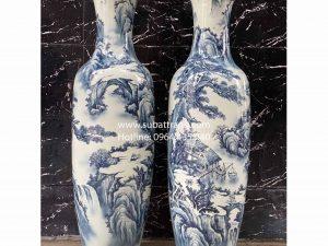Lộc bình sơn thủy men lam Bát Tràng 1m6 - 70079