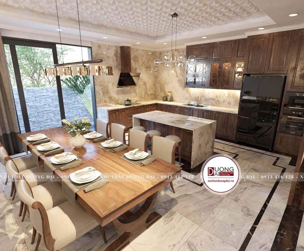 Phòng bếp gỗ óc chó với phong cách tân cổ điển, sang trọng.