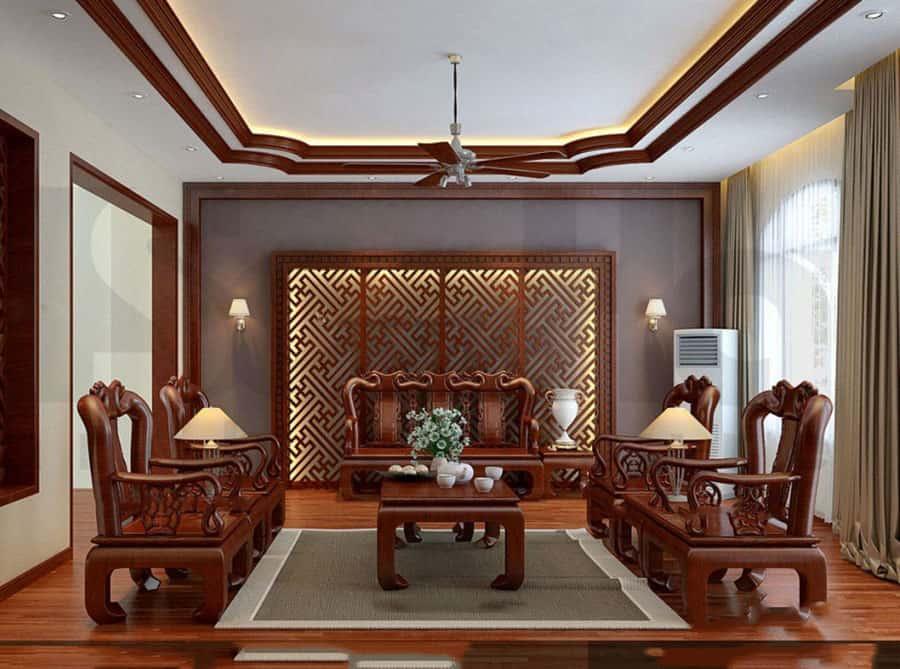 Nội thất phòng khách bằng gỗ tự nhiên đẹp