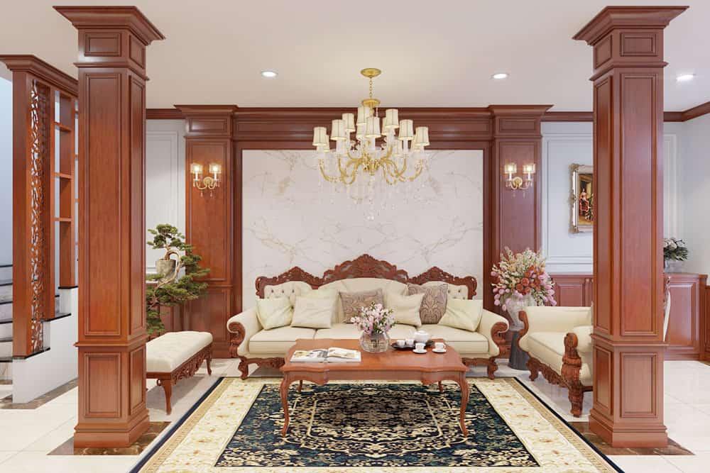 Bàn trà gỗ gõ đỏ trang nhã và uy nghi cho phòng khách biệt thự