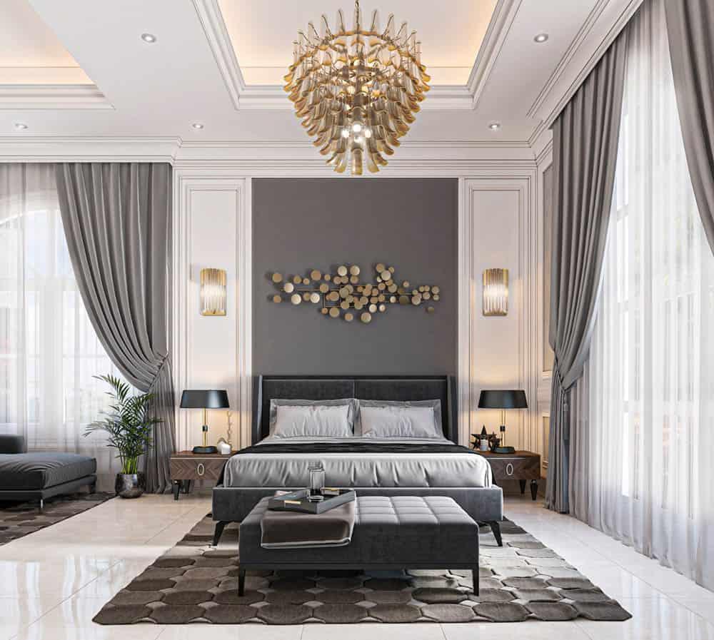 Phòng ngủ nhỏ xinh với gam màu ghi xanh cá tính