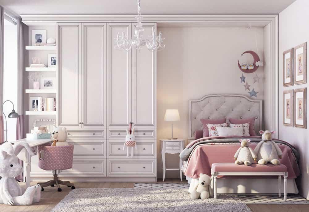 Phòng ngủ đáng yêu màu hồng cho bé gái