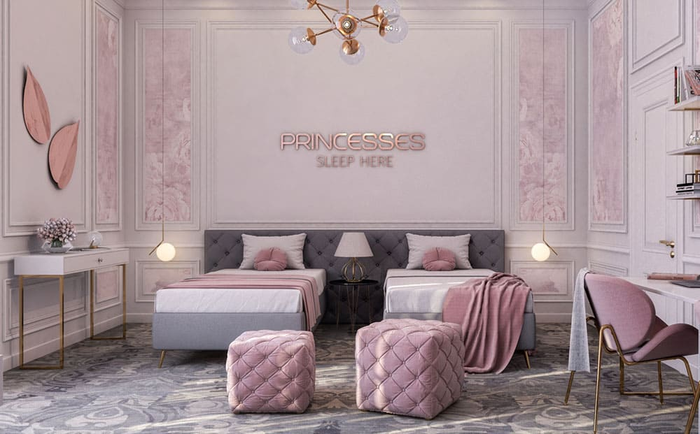 Phòng ngủ ngập tràn màu hồng - xám dễ thương và sang trọng