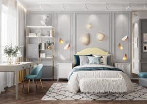 Phòng ngủ màu xanh nhạt mộng mơ và trang nhã