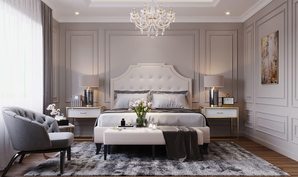 Phòng ngủ biệt thự ấn tượng với màu sắc tinh tế