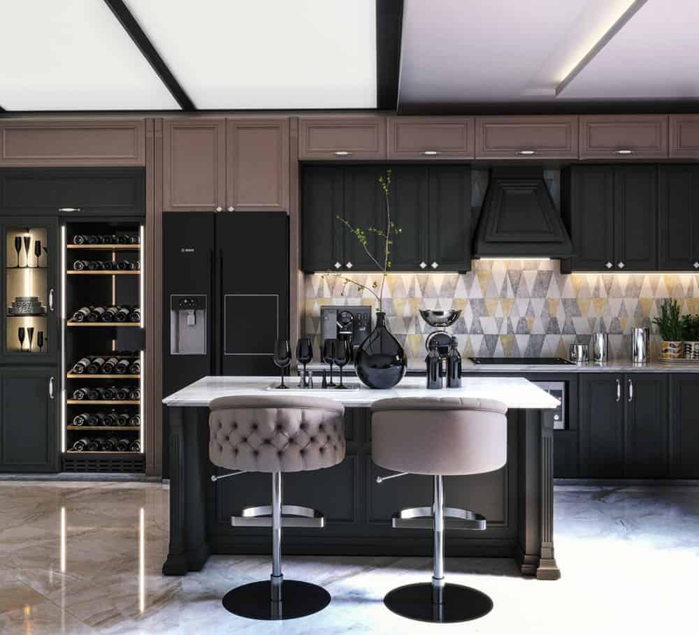 Phòng bếp màu đen cá tính kiểu dáng chữ i đơn giản