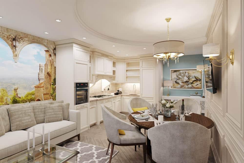 Phòng bếp chung cư nhỏ gọn với tủ bếp gỗ được sơn trắng