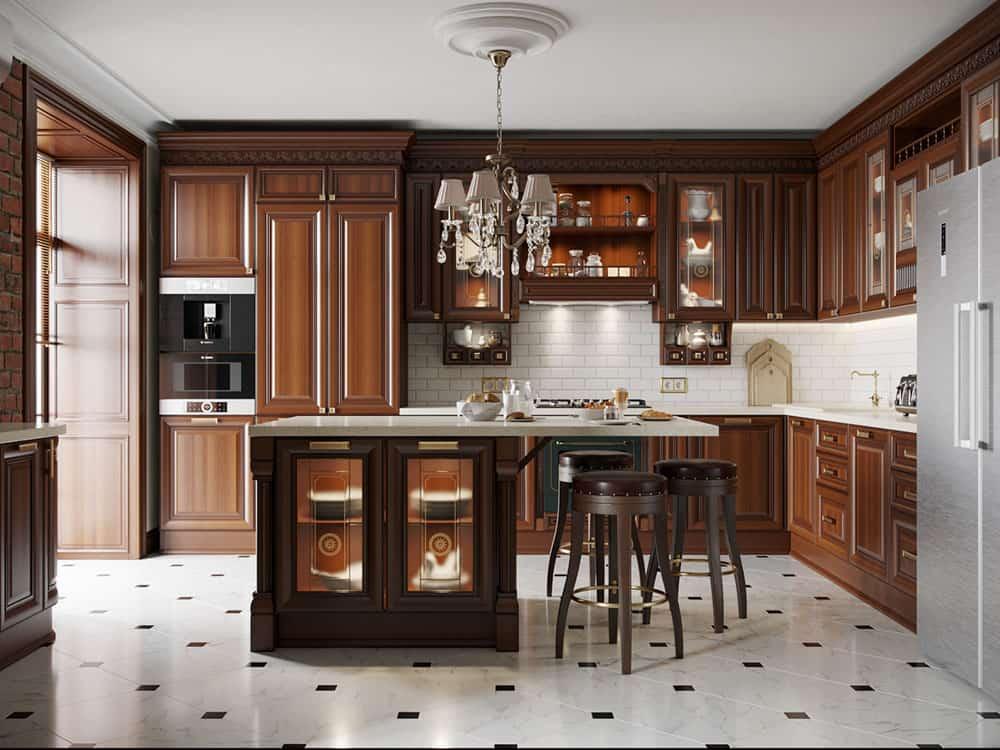 Thiết kế phòng bếp tiện nghi với màu nâu gỗ tinh tế