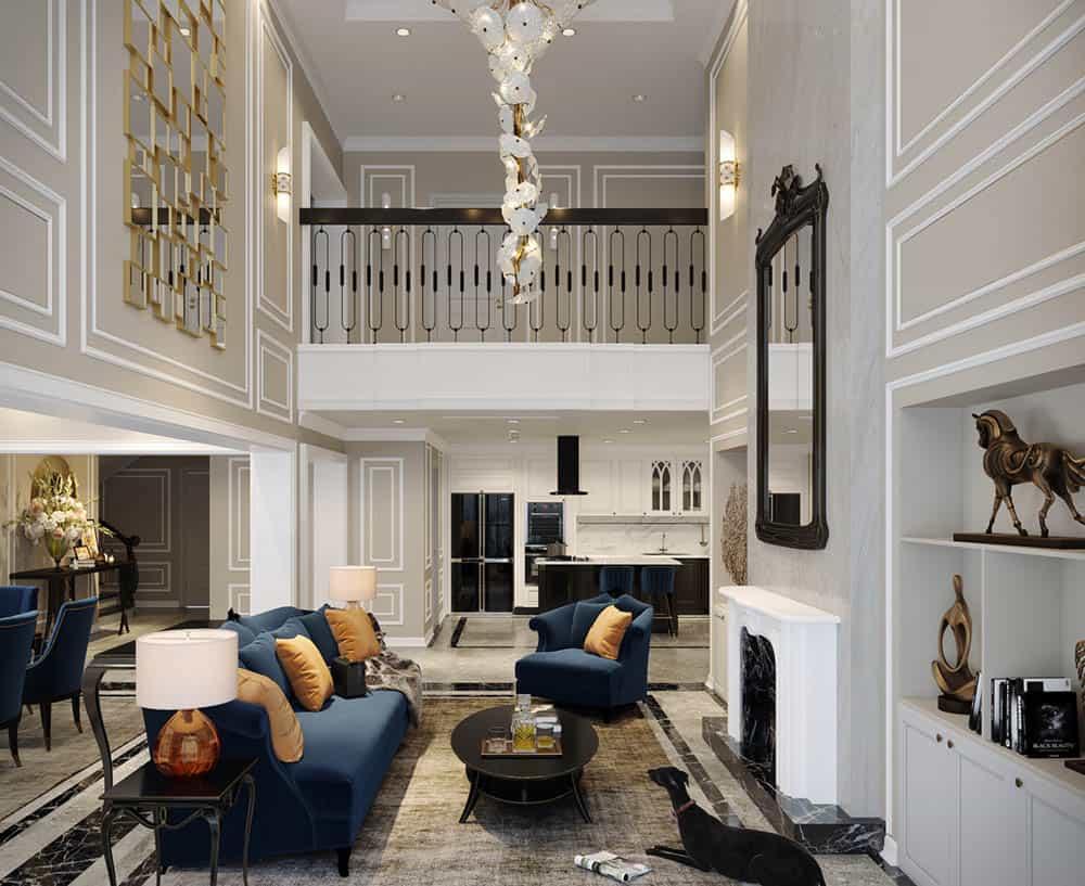 Phòng khách Duplex siêu trang nhã với bộ sofa màu xanh dương