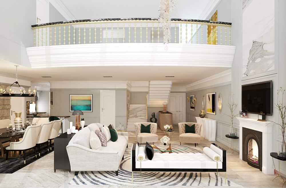 Mẫu phòng khách đẳng cấp cho căn hộ chung cư Duplex