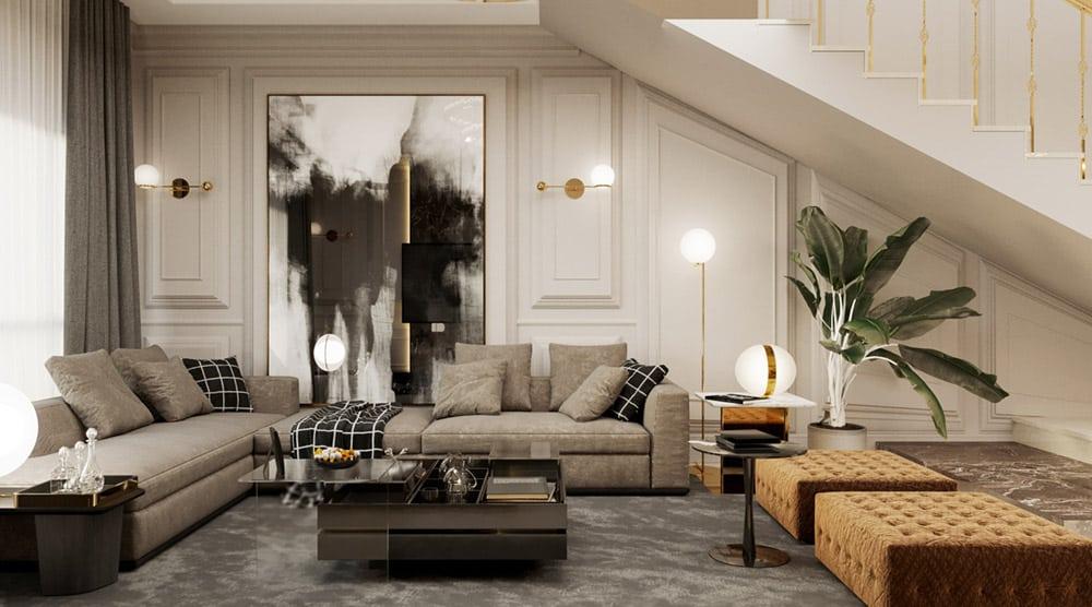 Phòng khách tầng 2 đơn giản với bộ sofa ghi sáng đặt dưới gầm cầu thang