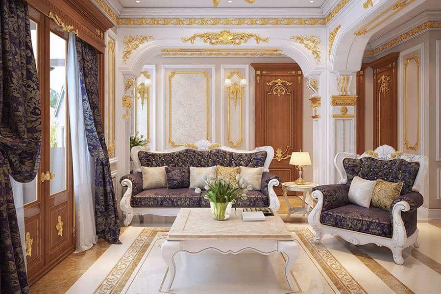 Màu sắc trắng và vàng là chủ đạo trong thiết kế nội thất