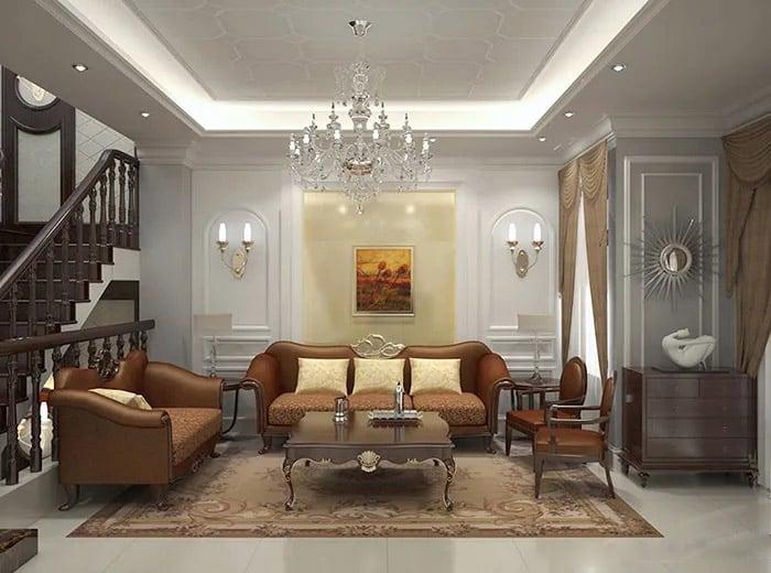 Phòng khách xa hoa với nội thất sang trọng và cao cấp