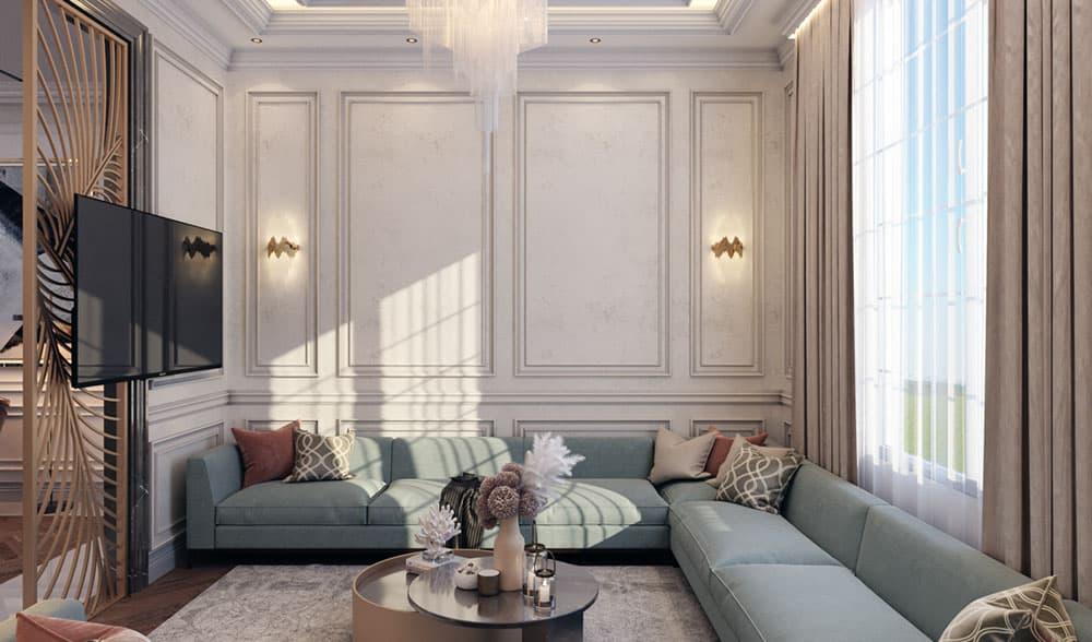 Phòng khách ngang 4m với bộ sofa kéo dài đầy ấn tượng