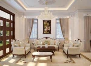 Phòng khách 40m2 bài trí bộ sofa lớn có hoa văn tân cổ điển