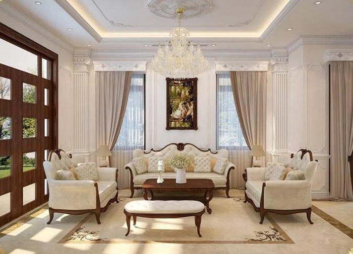 Thiết kế hoa văn tinh xảo pha chút hiện đại vào phòng khách hoàng gia
