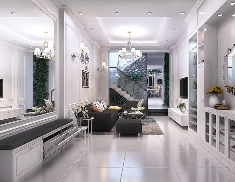 Phòng khách nhà phố mặt tiền 4m với cách bài trí sang trọng