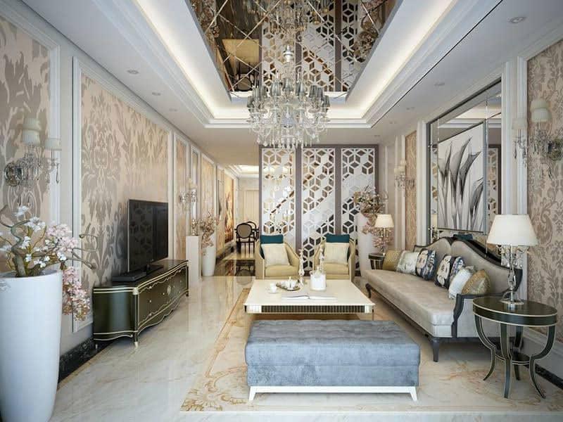 Thiết kế ấn tượng và xa hoa của phòng khách ngang 4m