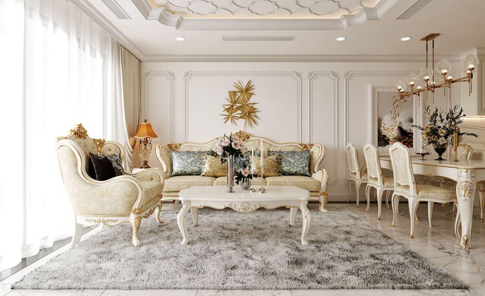 Thiết kế phòng khách nhỏ với nội thất đẳng cấp và quý phái