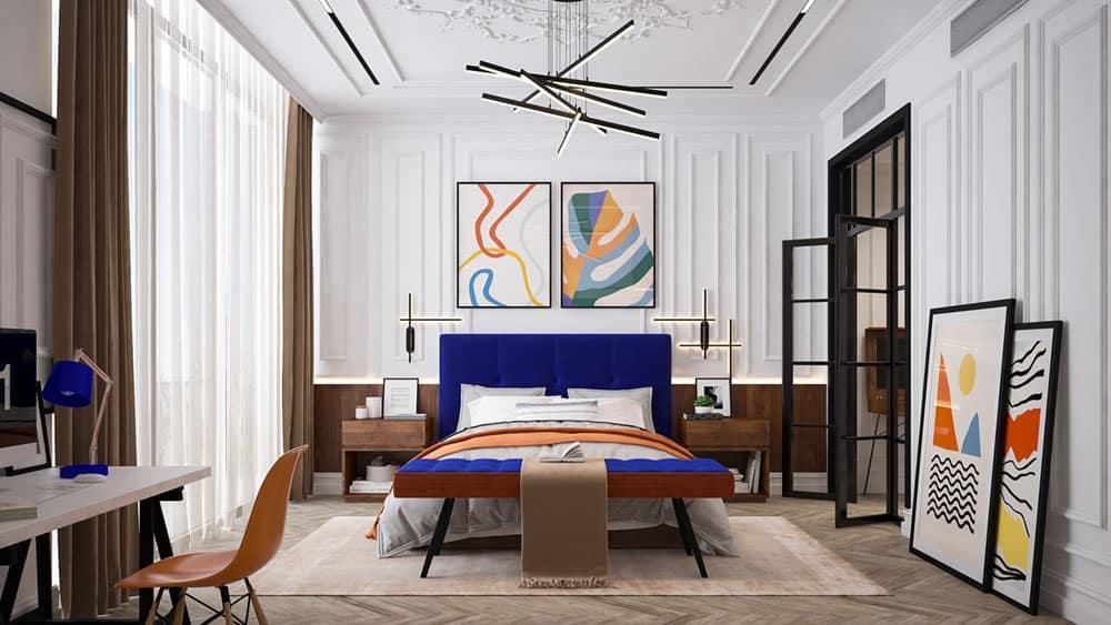 Phòng ngủ nhà phố vừa mang nét đẹp tân cổ lại rất hiện đại