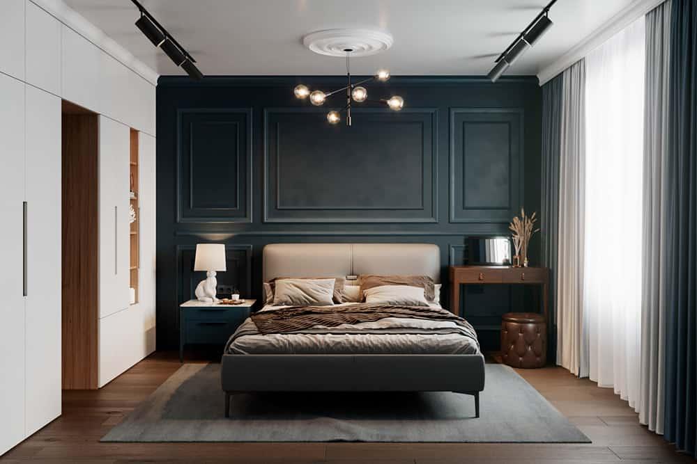 Phòng ngủ nhỏ với bức tường xanh rêu đầy cá tính