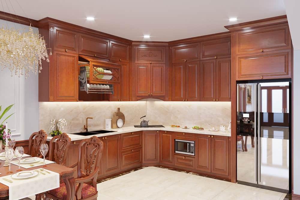 Mẫu tủ bếp trên treo tường gỗ gõ tân cổ điển sang trọng